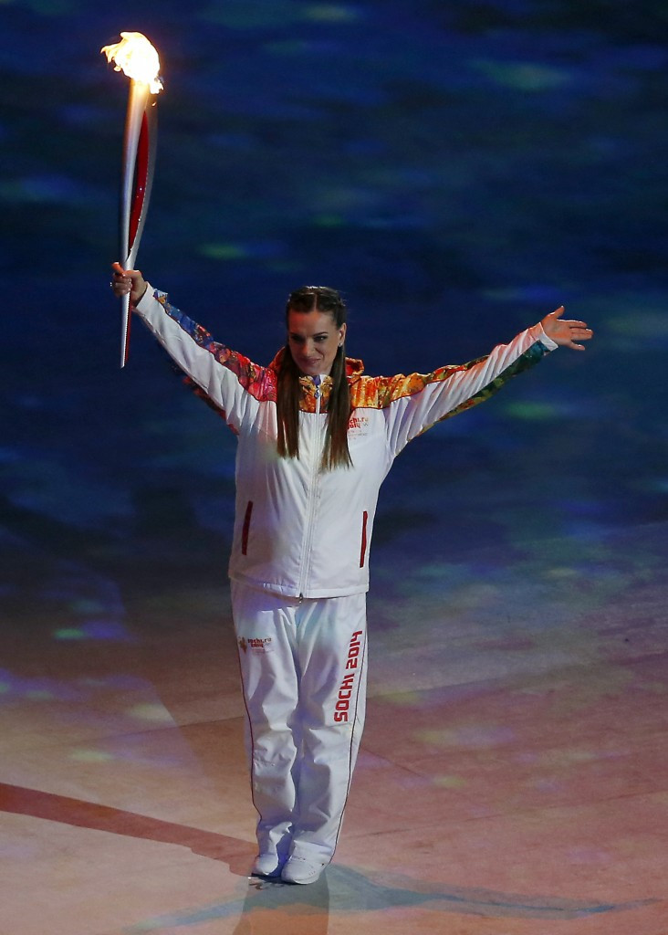Yelena Isinbayeva during the Opening Ceremony of the Sochi 2014 Winter Olympics ©Getty Images