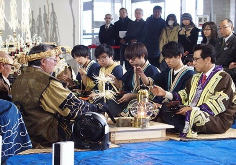 Traditional rituals formed part of the Sapporo 2017 Torch Relay ©Sapporo 2017