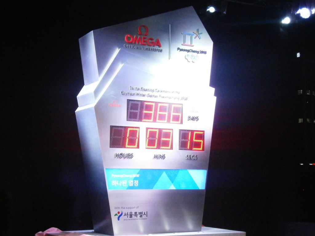 Omega countdown clock unveiled marking year to go until Pyeongchang 2018