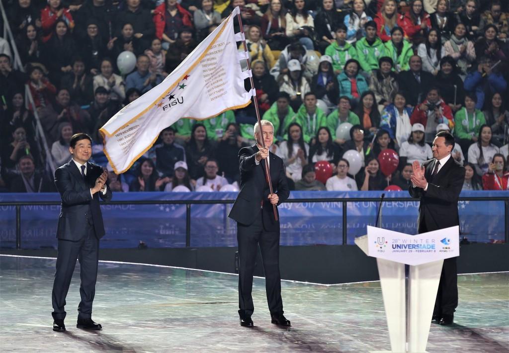 The FISU flag was transferred between Almaty 2017 and Krasnoyarsk 2019 ©Almaty 2017