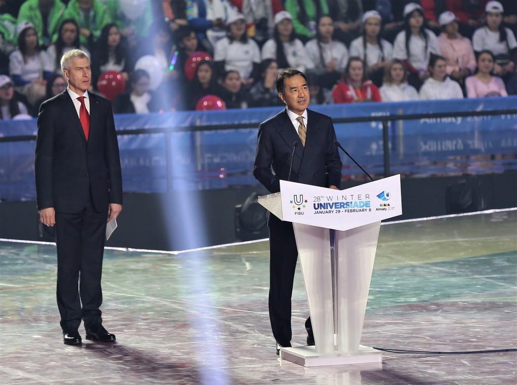 Kazakhstan Prime Minister Bakytzhan Sagintayev spoke at the Closing Ceremony ©Almaty 2017