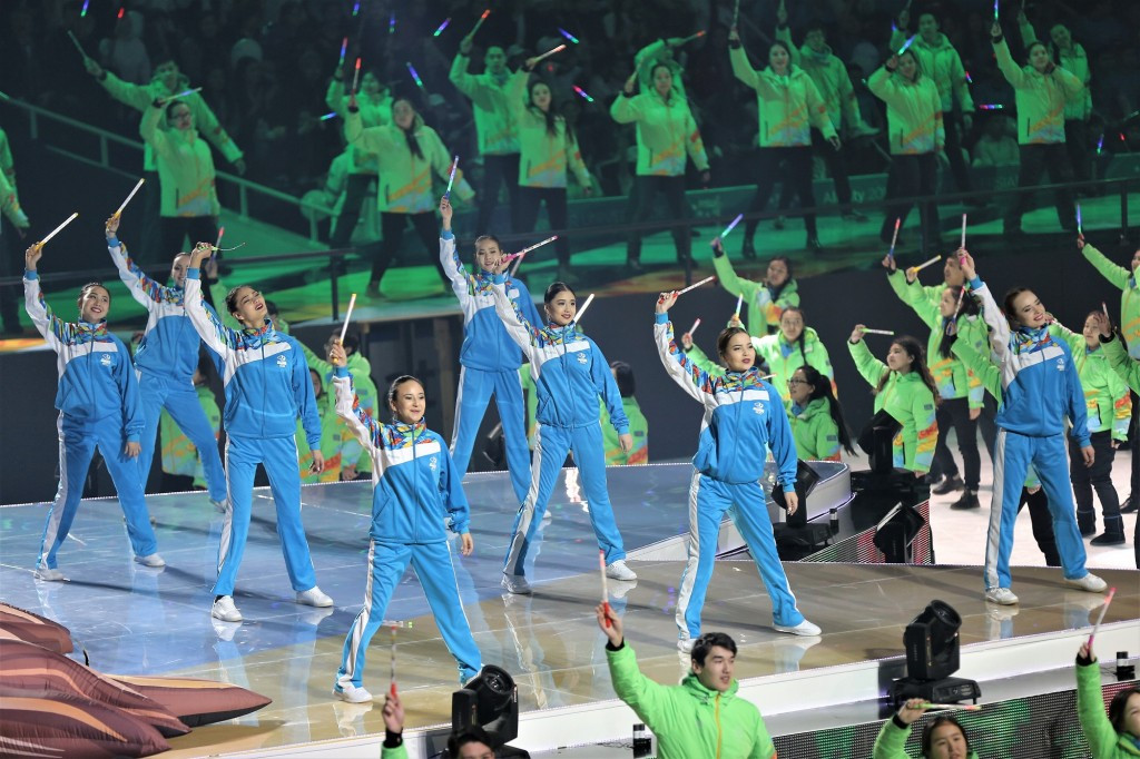 It was a carnival atmosphere at the Almaty Arena ©Almaty 2017