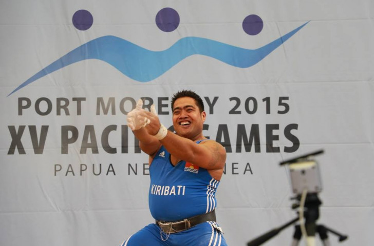 David Katoatau danced with joy after winning three Pacific Games gold medals in the men's 105kg category ©ONOC