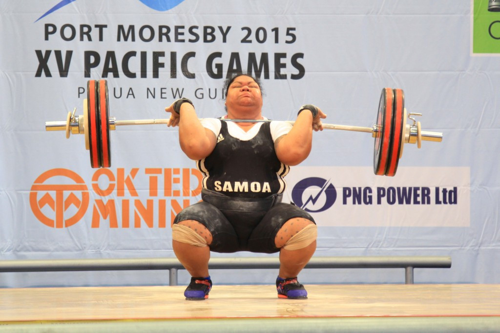 Ele Opeloge enjoyed a trouble-free victory in all three women's over 75 kilograms categories to ensure she claimed treble gold