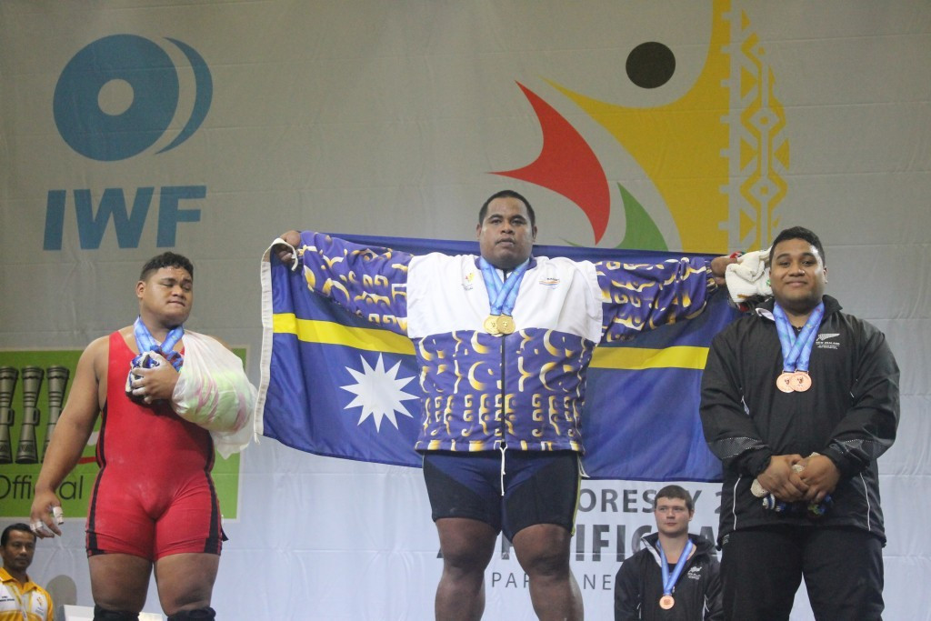 Itte Detenamo won Nauru's first gold medals of the Pacific Games by sweeping the men's over 105kg category