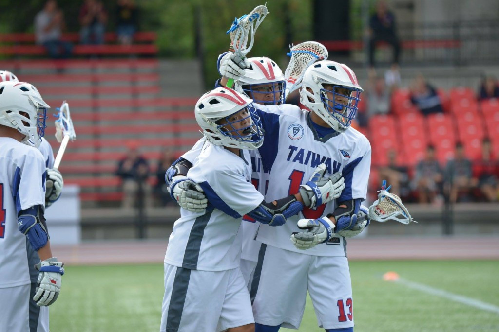 Taiwan players celebrate a goal at the Under-19 Men's Lacrosse World Championship in 2016 ©TWLA