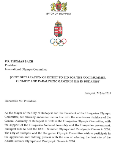 The opening section of the letter of intent submitted to the International Olympic Committee ©HOC