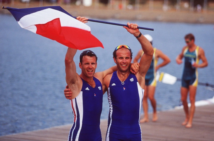 Jean-Christophe Rolland, now FISA President, pictured with Michael Andrieux after their victory for France in the 2000 Olympic men's coxless pair event ©Getty Images