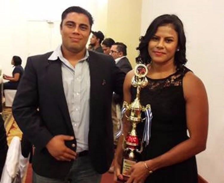 Zaira Laguna, right, alongside Nicaraguan Federation of Sambo President João Maldonado ©FIAS