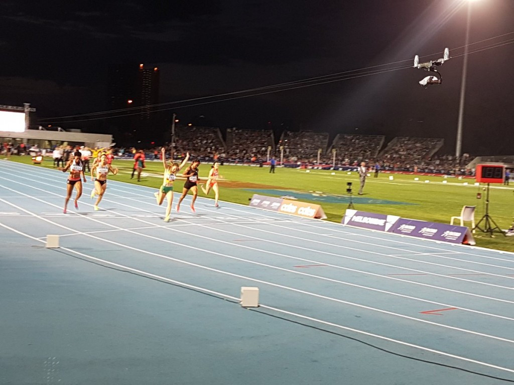 Sixteen-year-old home sprinter Riley Day produces an audacious victory in the women's 150m against a field of seasoned world class runners ©Nitro Athletics
