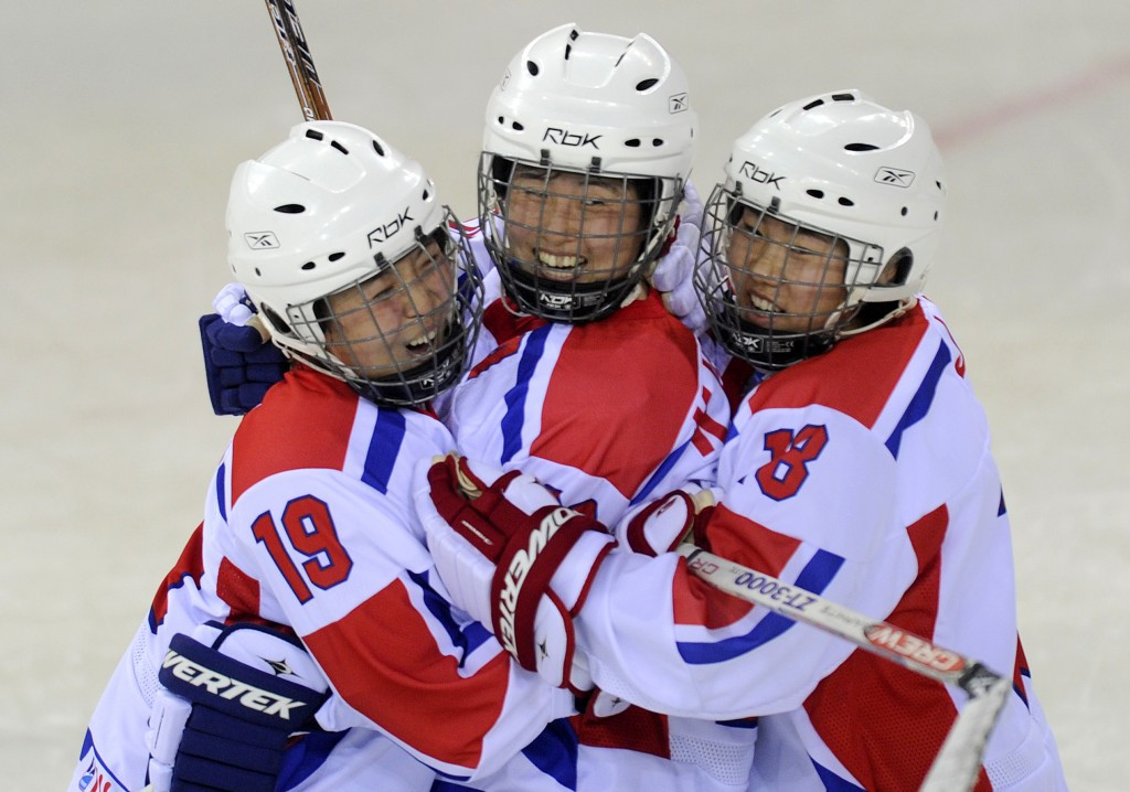 North Korean ice hockey players pictured competing at the last edition of the Asian Winter Games in Almaty in 2011 ©Getty Images