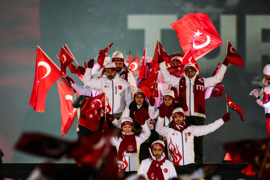 Home athletes from Turkey march at the Opening Ceremony of the European Youth Olympic Festival ©Erzurum 2017/Twitter