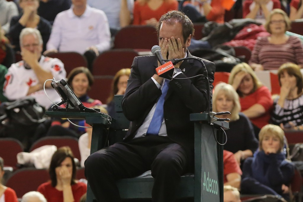 Umpire Gabas undergoes surgery after being struck by ball in Davis Cup tie
