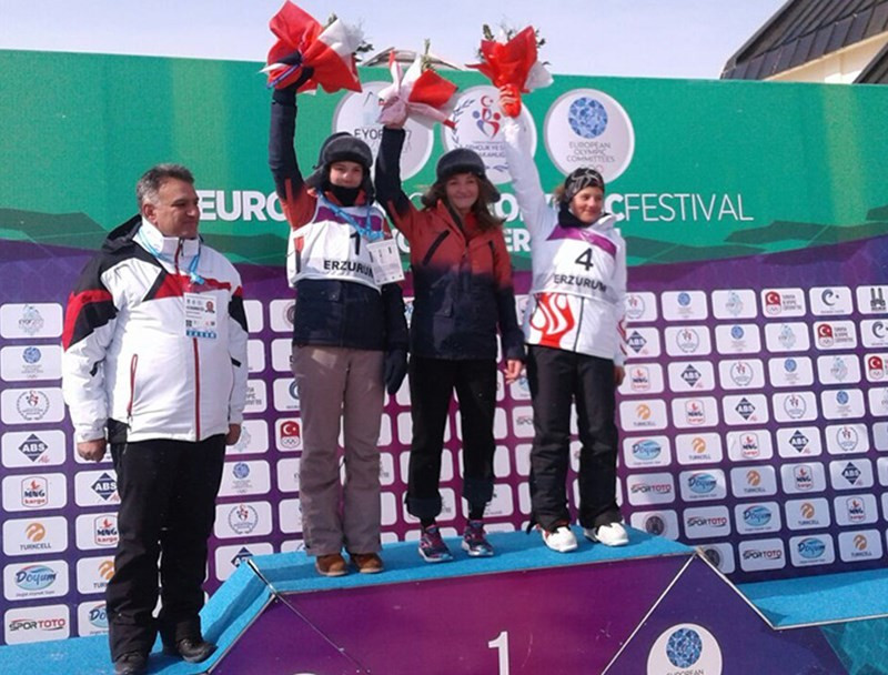 Russian and Turkish snowboarders shared the parallel giant slalom podium ©Erzurum 2017