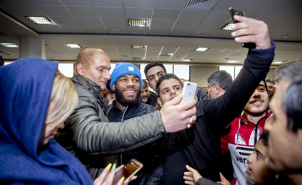 The American team, including Jordan Burroughs, have arrived in Iran ©UWW