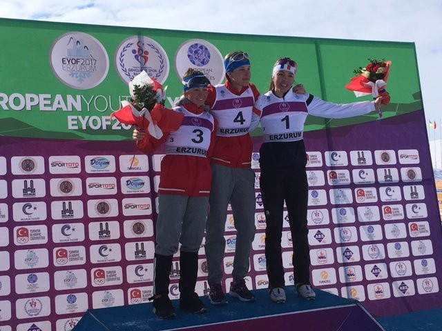 Russia's Anna Grigoreva, centre, won the girls' 7.5km pursuit race ©French Olympic Committee/Twitter