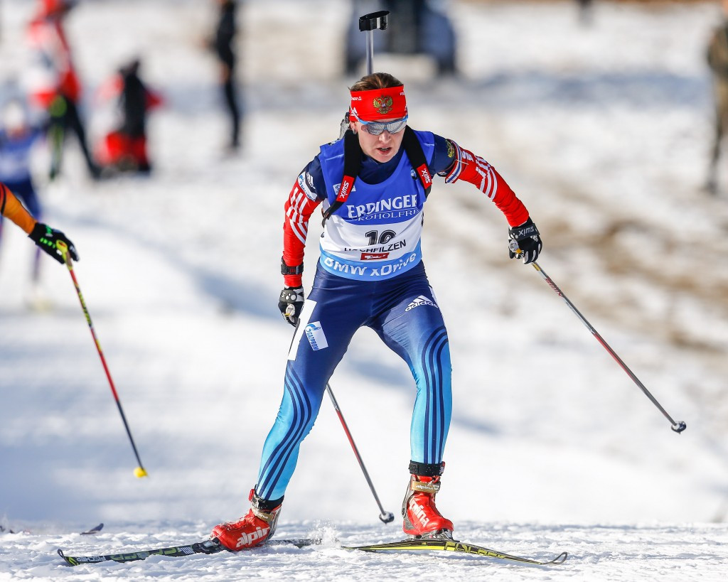 Russian Ekaterina Glazyrina was provisionally suspended by the IBU last week due to findings in the McLaren Report ©Getty Images