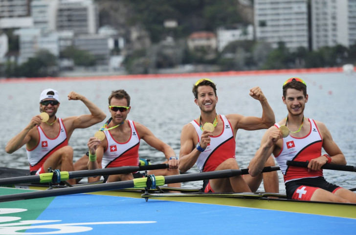 Too good for their own good? Switzerland celebrate Rio Olympic victory in the men's lightweight four - an event that will be dropped from the programme for Tokyo 2020 ©Getty Images