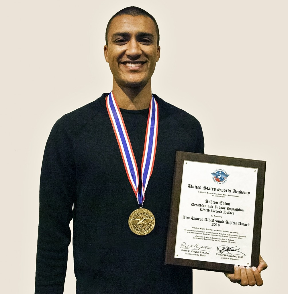 Ashton Eaton has been presented the 2016 Jim Thorpe All-Around Award from the United States Sports Academy ©USSA