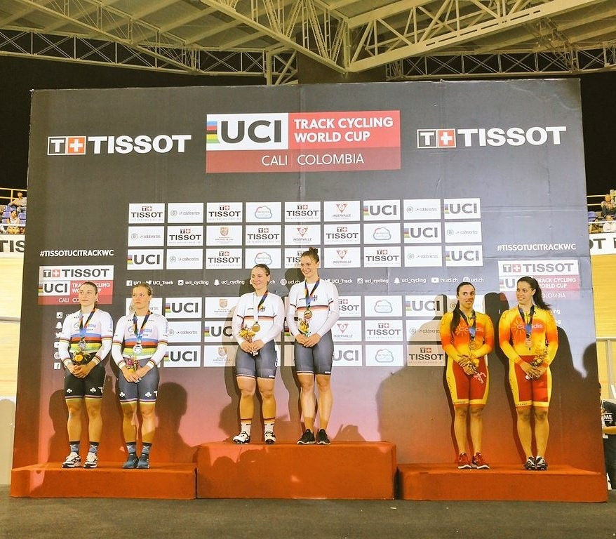 Germany claimed the women's team sprint crown on day one of competition ©Track World Cup Cali/Twitter