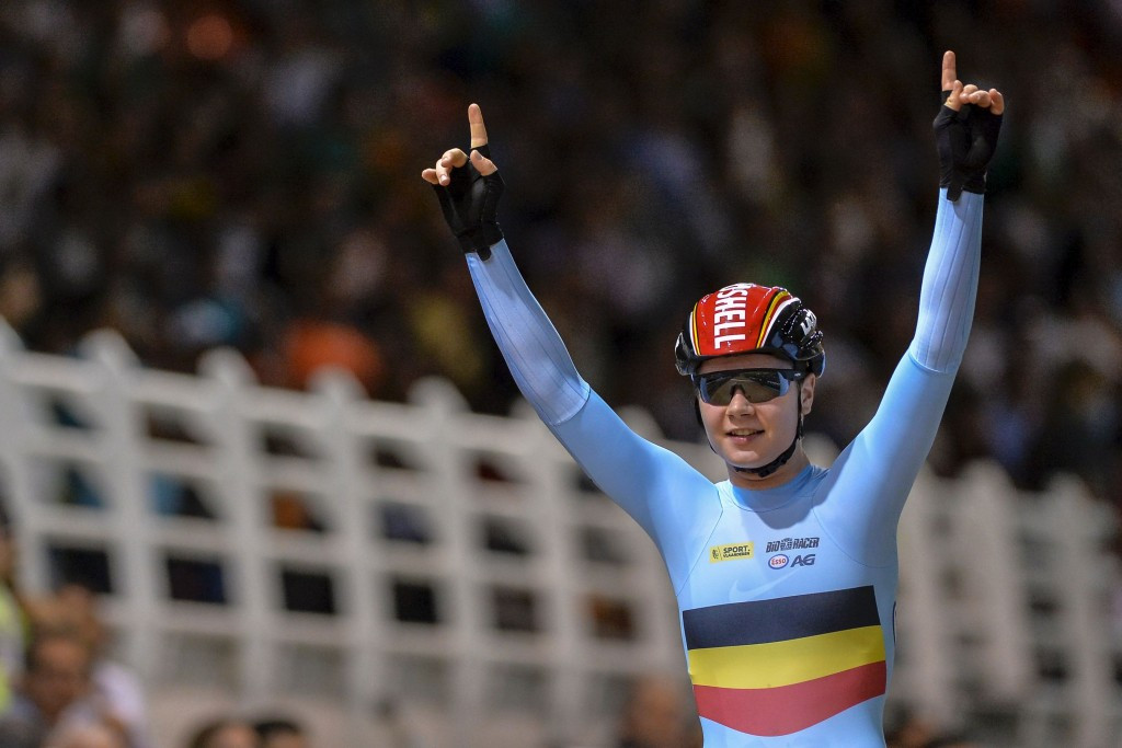 Lotte Kopecky celebrates her victory in the women's omnium event ©Getty Images