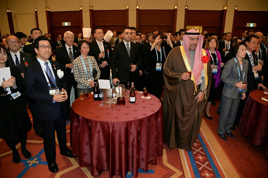 Sheikh Ahmad spoke in front of an audience of officials from Sapporo, Japan and the International Olympic Committee ©OCA