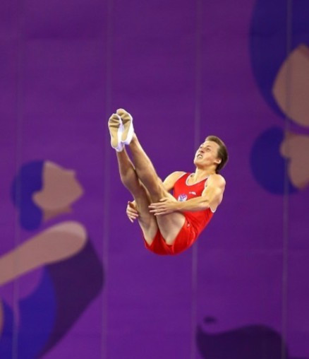 Dmitry Ushakov took top spot in the men's qualification at the Trampoline World Cup in Baku today ©Getty Images