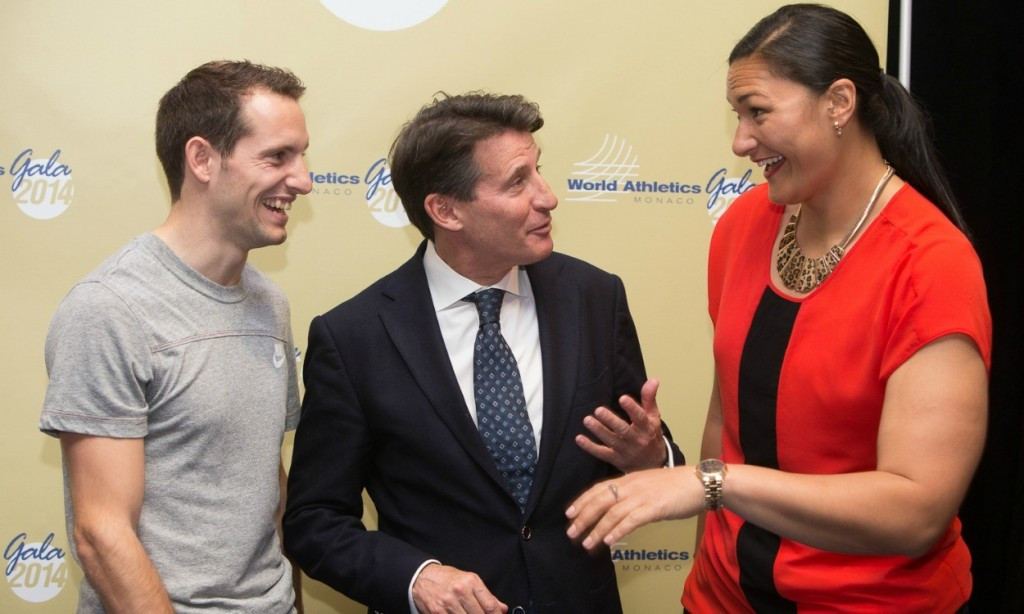 Renaud Lavillenie (left) has backed Sergey Bubka to be the next IAAF President but has also claimed that Sebastian Coe (centre) would be a good candidate