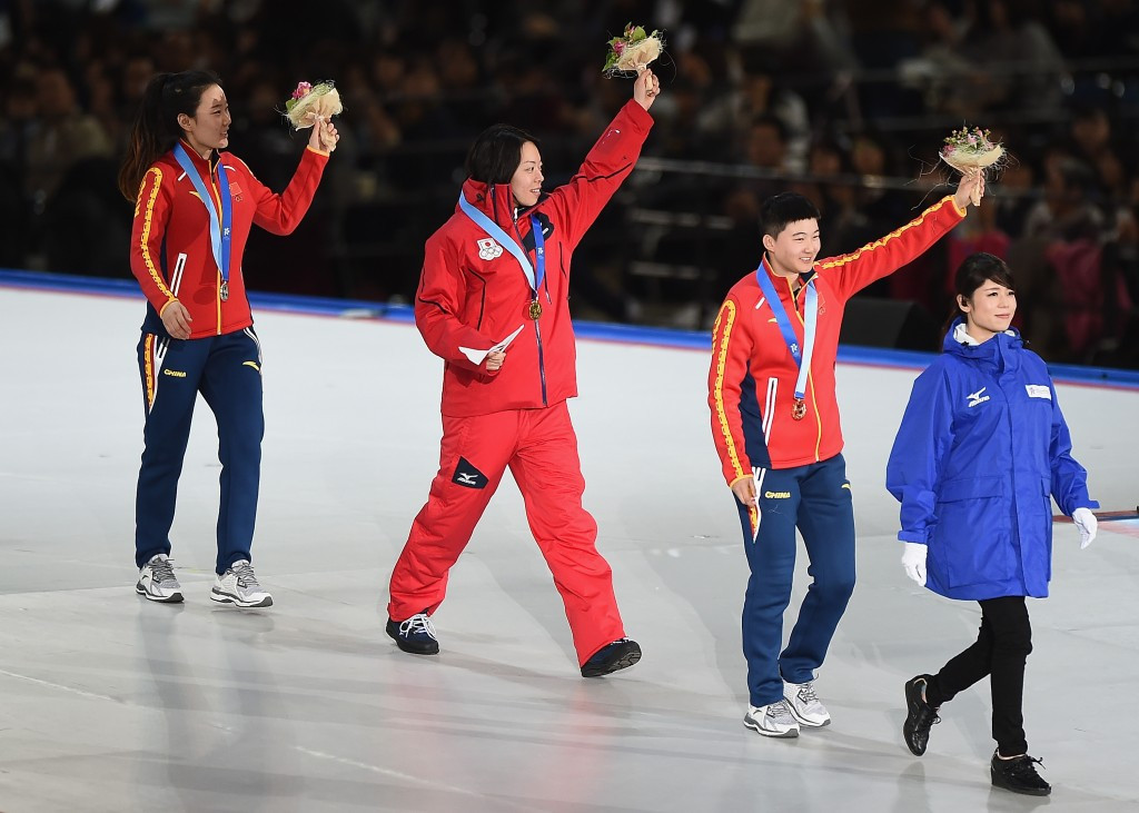 The athletes received their medals during the Opening Ceremony of Sapporo 2017 ©Getty Images