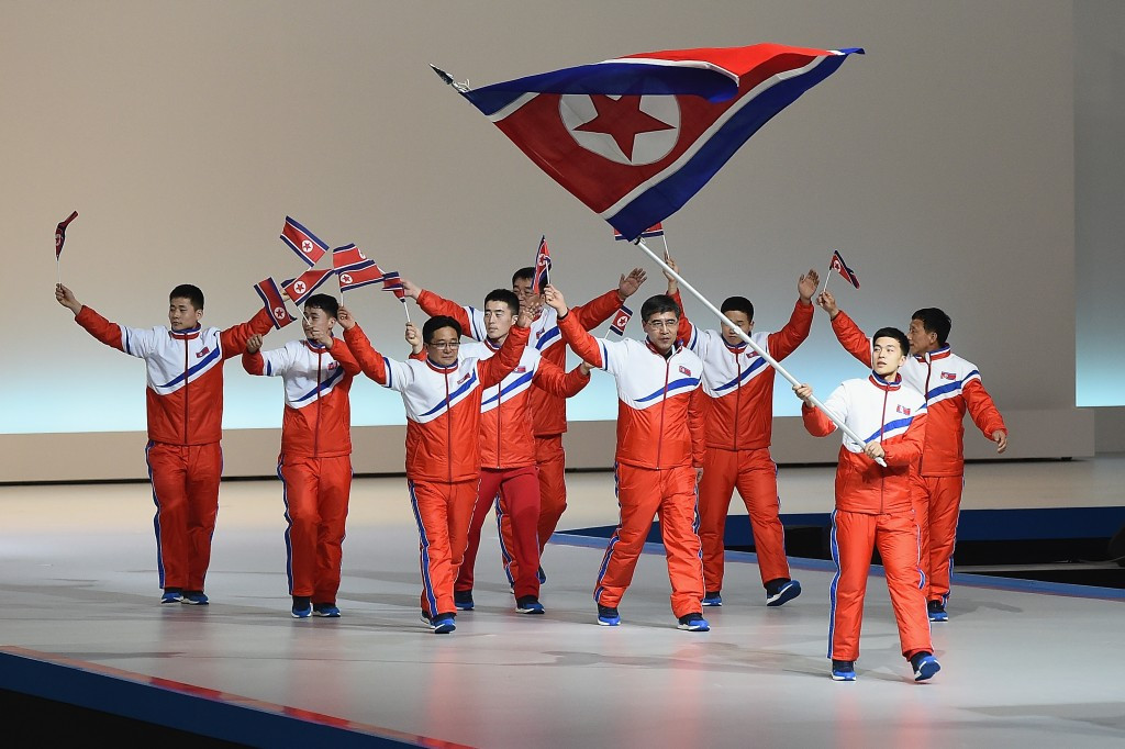 North Korean athletes marching at the Opening Ceremony of the Asian Winter Games ©Getty Images