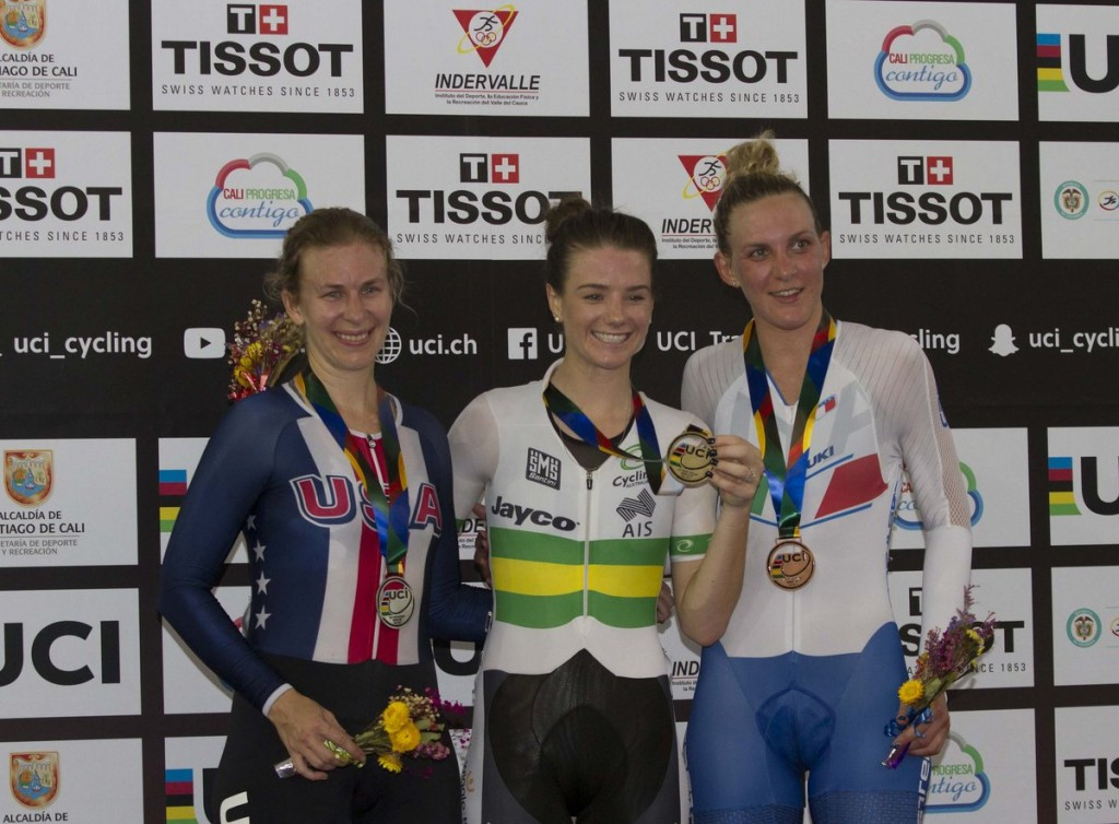 Amy Cure claimed double gold on the final day of the World Cup ©Twitter/TrackWCupCali
