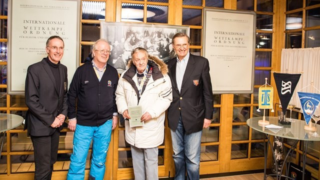 Copy of first Alpine skiing rulebook presented to FIS President