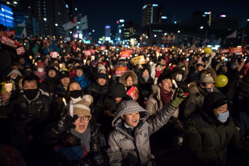 Protesters are still flocking onto the streets across South Korea as political instability continues ©Getty Images