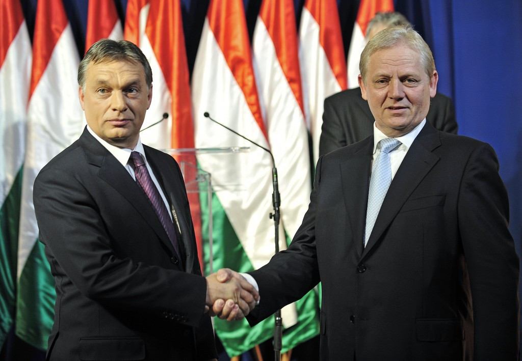 Budapest Mayor István Tarlós, right, is set to meet with Hungarian Prime Minister Viktor Orbán, left, tomorrow to review the city's bid following fears that it may be scrapped because of local opposition ©Getty Images