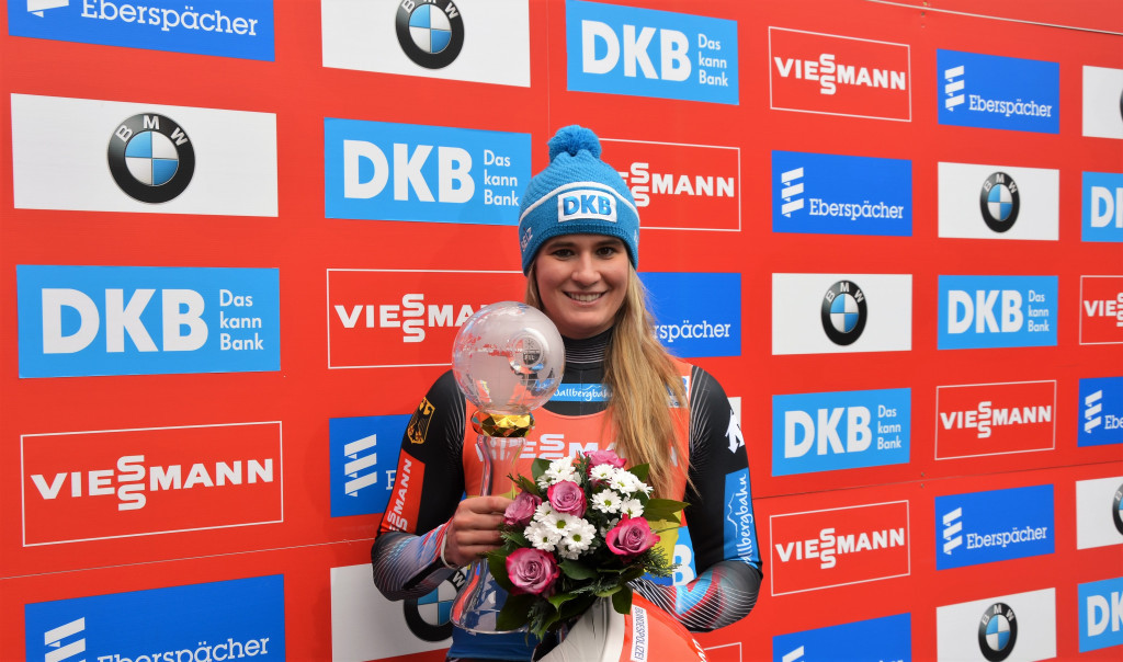 Olympic champion Natalie Geisenberger led a German clean sweep at the last meet of the FIL World Cup season to secure a record-breaking 38th individual victory in Altenberg ©FIL