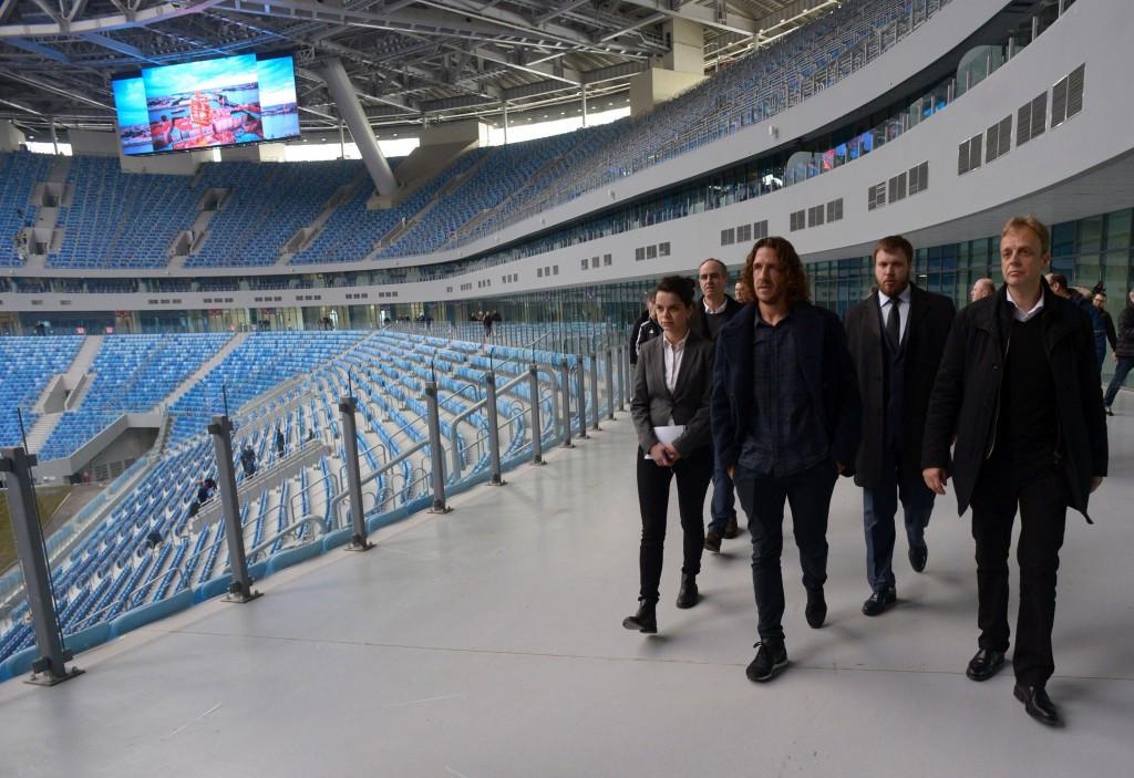 Puyol leads FIFA delegation to Saint Petersburg's Krestovsky Stadium