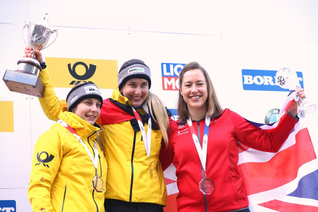 Thomas Bach awarded the medals for the women's skeleton at the IBSF World Championships in Königssee ©Getty Images