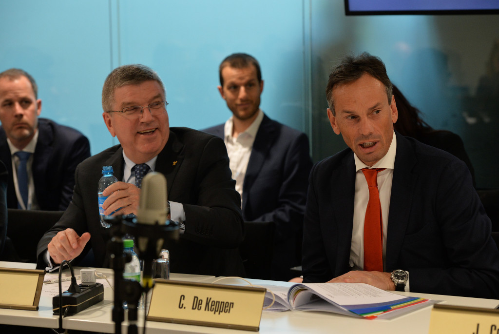IOC director general Christophe de Kepper, pictured, right, with Thomas Bach, signed the update letter ©Getty Images