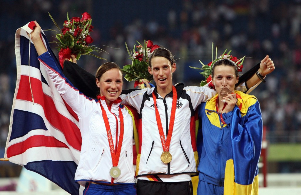 Viktoriya Tereshchuk, right, finished third behind Germany's Lena Schöneborn, centre, and Heather Fell of Great Britain, left, in Beijing ©Getty Images