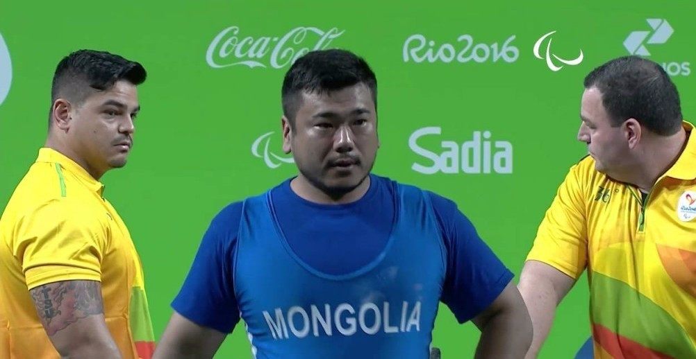 Paralympic bronze medallist Sodnompiljee Enkhbayar won the men's up to 97kg competition ©YouTube