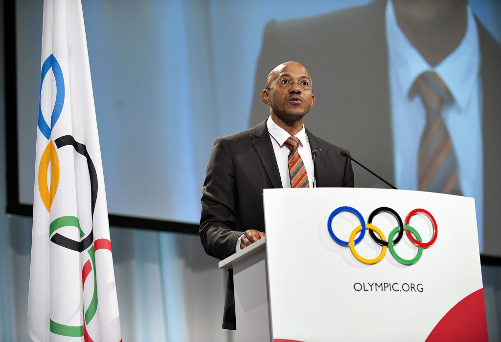 Frankie Fredericks pictured speaking during the 2009 IOC Session in Copenhagen ©Getty Images