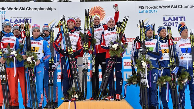 Norway battled to victory over Russia and Sweden today ©FIS
