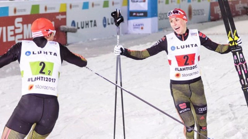 Eric Frenzel, right, and Johannes Rydzek combined to claim German gold in the Nordic combined team sprint ©FIS