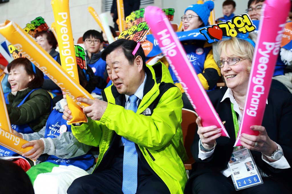 Pyeongchang 2018 President Lee Hee-beom and WCF head Kate Caithness were in attendance at the event ©Pyeongchang 2018