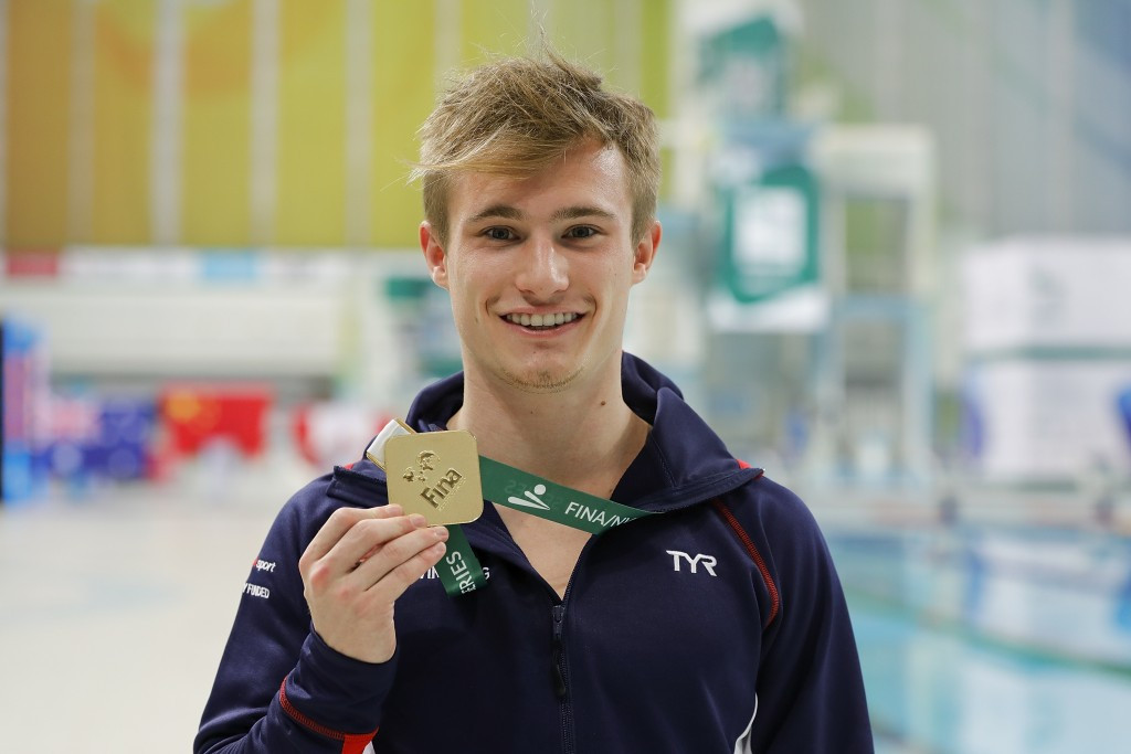 Great Britain's Jack Laugher won the men's three metres springboard title as action continued today at the FINA Diving World Series in Beijing ©Getty Images