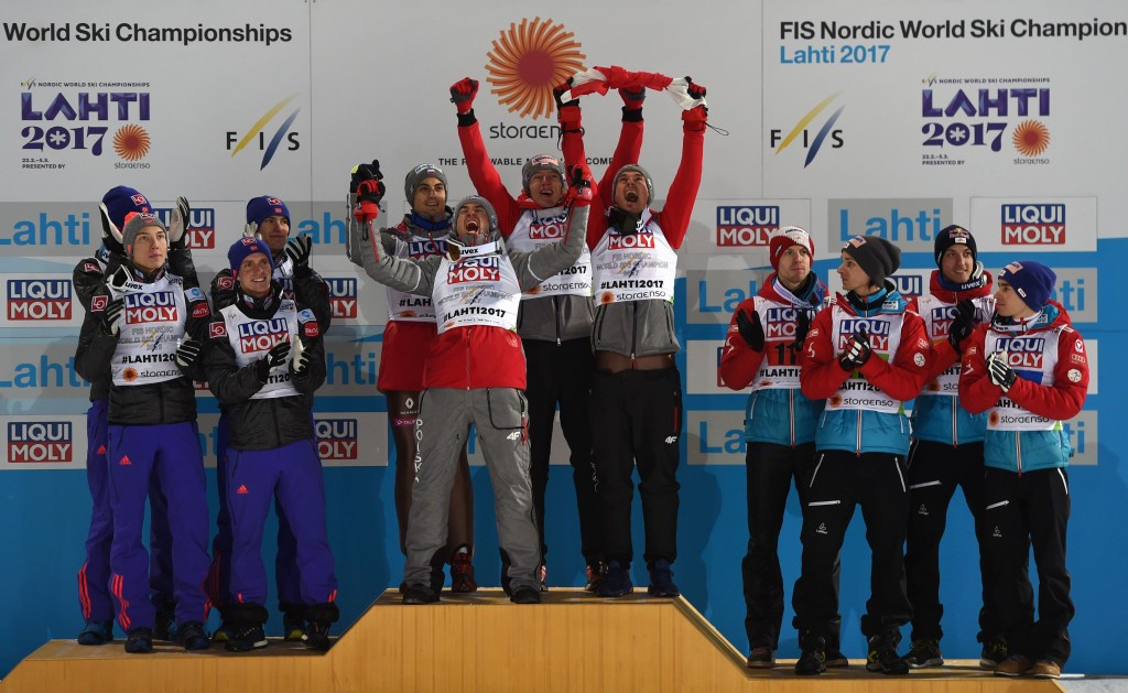 Poland took gold in the men's large hill ski jumping competition ©Getty Images