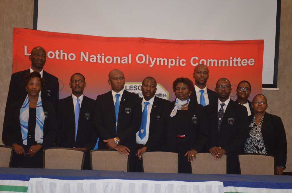 Members of the Lesotho National Olympic Committee pose following the election ©LNOC