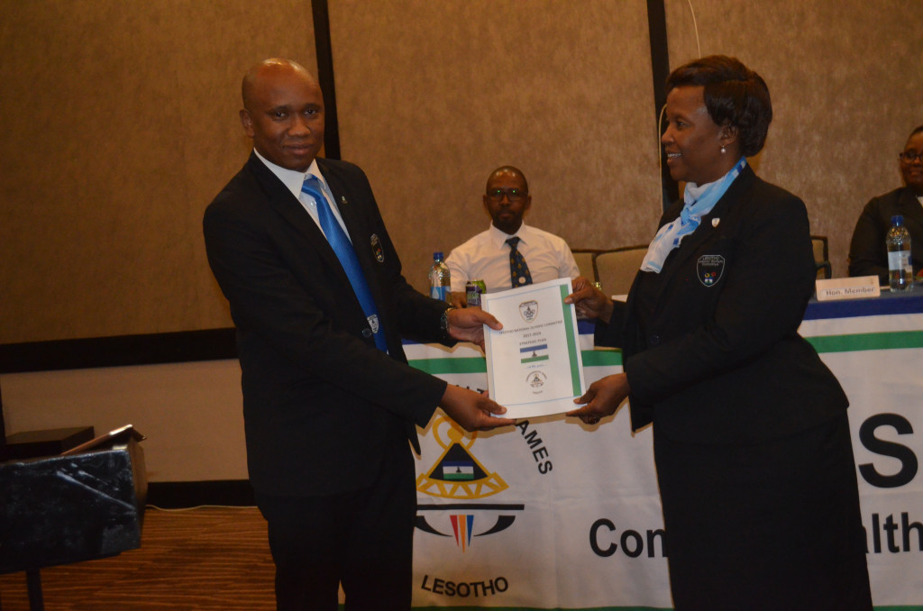 Matlohang Moiloa-Ramoqopo, right, has been re-elected President of the Lesotho National Olympic Committee ©LNOC