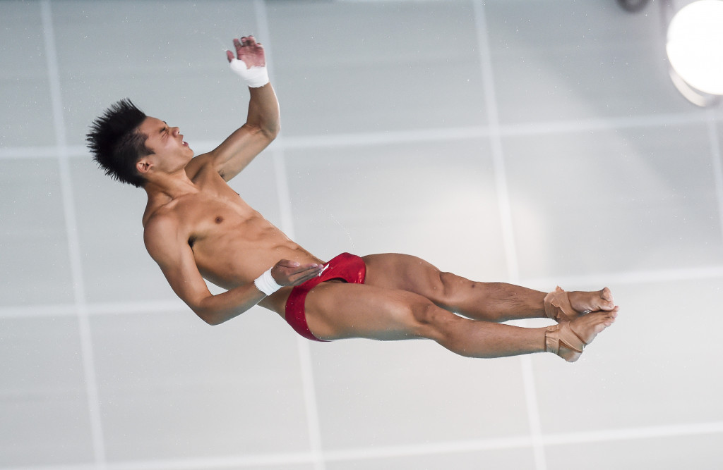 Double Olympic gold medallist Chen Aisen won the men's 10m platform event on the last day of action at the FINA Diving World Series in Beijing ©Getty Images
