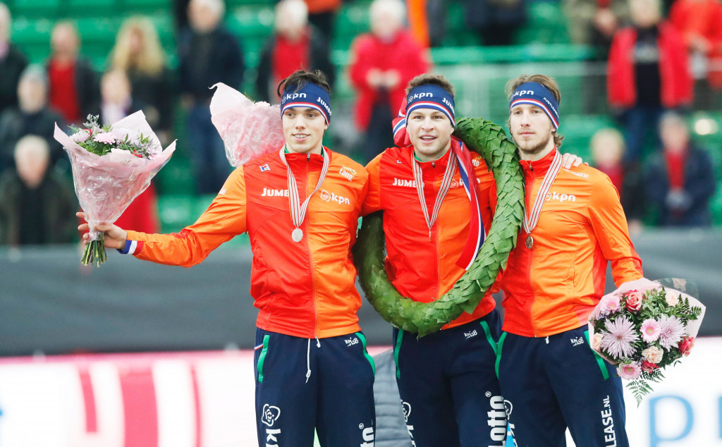 Sven Kramer, centre, topped an all-Dutch podium in the men's tournament ©Getty Images